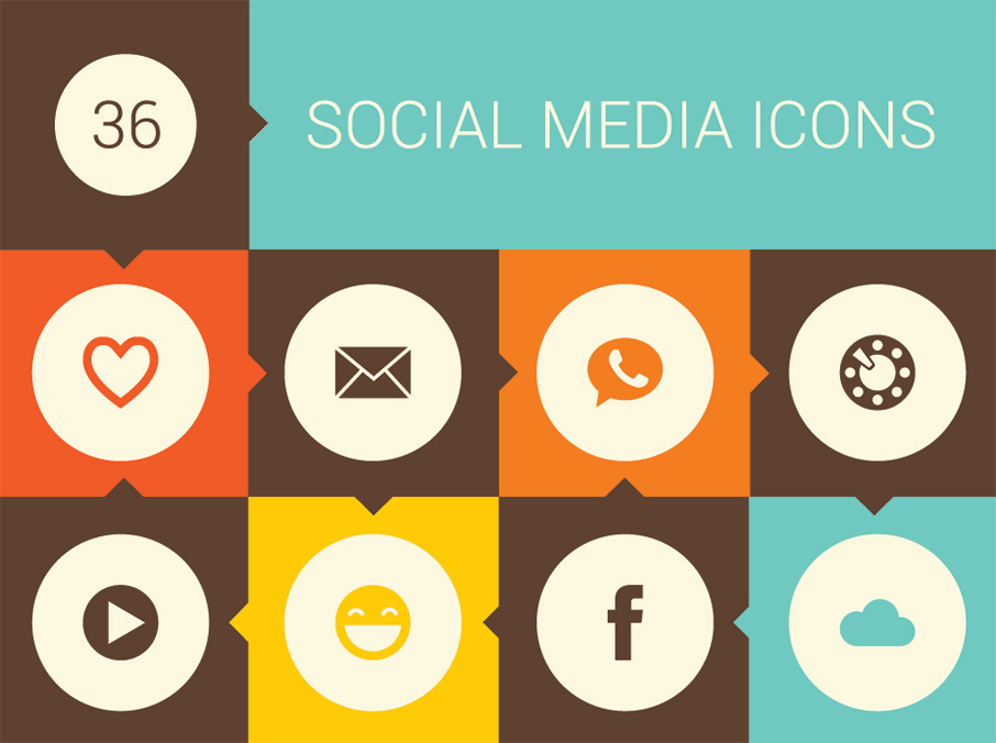 Retro Social Media Icon Set from Vecteezy